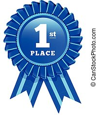 Award rosette with ribbon. First place vector illustration