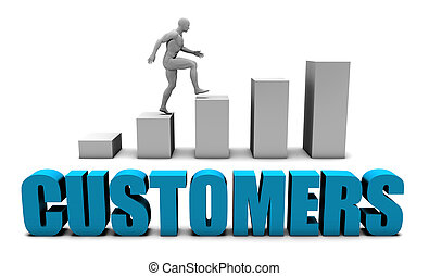 Customers 3D Concept  in Blue with Bar Chart Graph