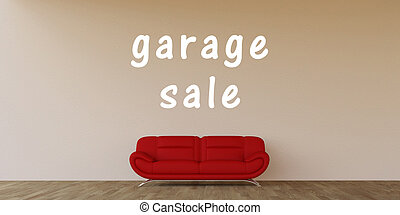 Garage Sale Concept with Home Interior Art