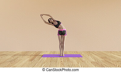 Yoga Class Half Moon Pose Illustration with Female...