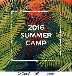 Summer themed camp and summer vacation poster, vector...
