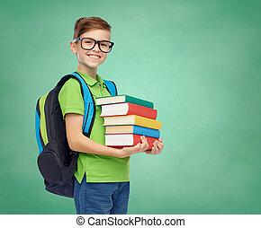 Menino, escola, saco, LIVROS, estudante, Feliz