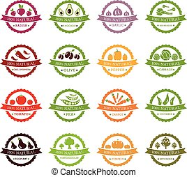 Set of vector labels with vegetables
