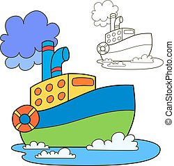 Motor ship. Coloring book page. Cartoon vector illustration