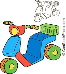 Scooter. Coloring book page. Cartoon vector illustration
