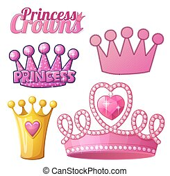 Set of princess crowns isolated on white. Vector...