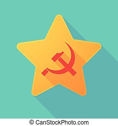 Long shadow star with the communist symbol - Illustration of...