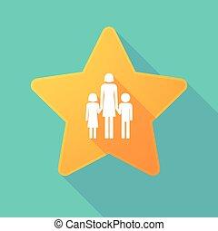 largo, sombra, estrella, con, Un, hembra, solo, padre,...