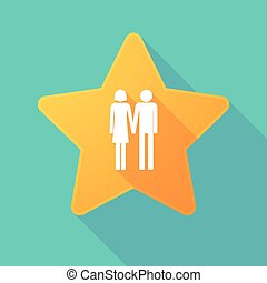 Long shadow star with a heterosexual couple pictogram -...