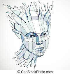 3d vector portrait created with lines mesh Intelligence...