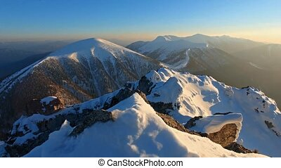 Mountain peak at winter - Roszutec - Slovakia mountain, Time...
