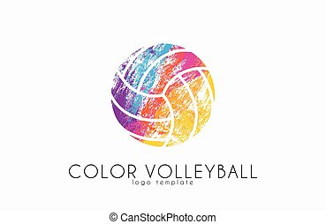 Volleyball logo. Volleyball ball logo design. Color ball....