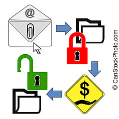 Concept of CryptoLocker - Conceptual illustration to explain...