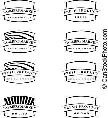 Set of illustration farm labels.Vector