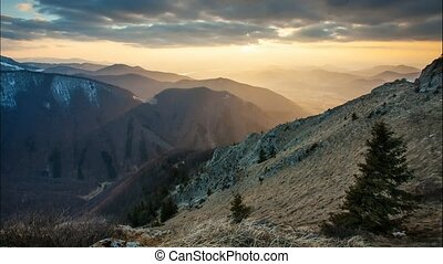 Time lapse at sunset in Slovakia Mountain, Mala Fatra