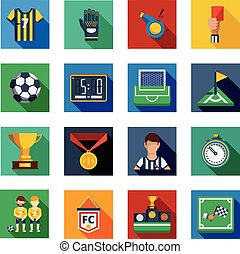 Soccer Flat Squared Icon Set
