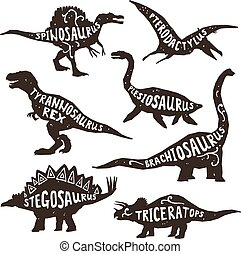 Dinosaurs Silhouettes With Lettering - Dinosaurs black...