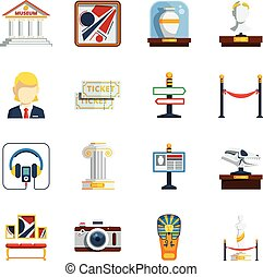 Museum Flat Icon Set - Museum flat icon set with colored...
