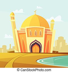 Mosque Building Illustration - Mosque building with lawn by...