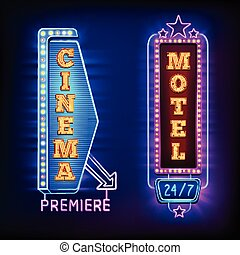 Retro light vertical signs with cinema and motel emblems...