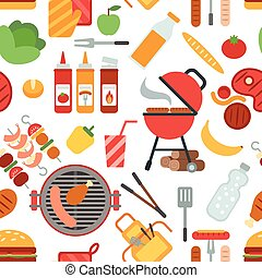 BBQ party seamless pattern with grill meat and vegetables...