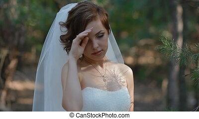 Portrait of beautiful young bride Woman pose to photographer...