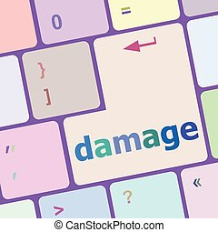 crashed or damaged computer key or button vector...