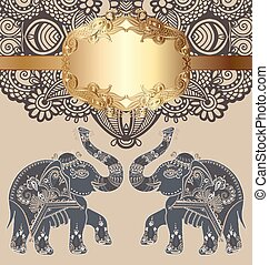 original indian pattern with two elephants for invitation,...