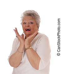 Closeup of exiting senior woman. - Senior woman beaming from...
