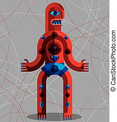 Vector illustration of bizarre modernistic avatar, cubism...