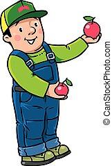 Funy farmer or gardener with apples