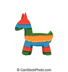 Traditional Mexican Pinata Isolated Flat Vector Cute...
