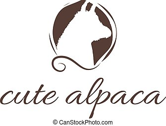 Abstract illustration icon of alpaca