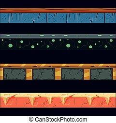 Alien Planet Platformer Level Floor Design Set In 2-d Vector...