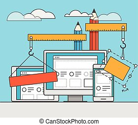 Web site constructor illustration Web design concept