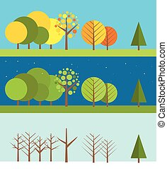 Different weather flat design illustrations set