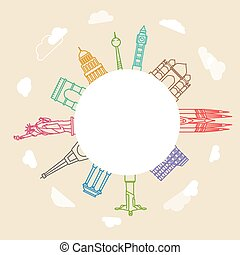 World famous signts abstract lineart silhouettes collection....