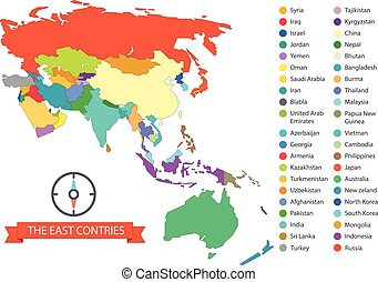 World map infographic template. The East countries...