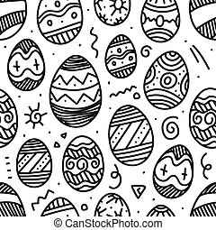 Easter eggs vector seamless pattern