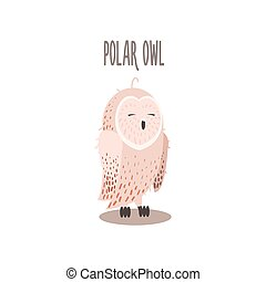 Polar Owl Vector Illustration - Polar Owl Drawing For Arctic...