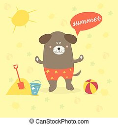 Illustration of a summer scene with a cartoon dog