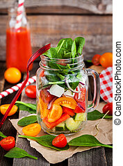 沙拉, 健康, 罐子, 玻璃, 蔬菜, 新鮮