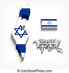 State of Israel 3D flag and map transportation and tourism...