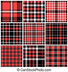 Set of plaid seamless patterns