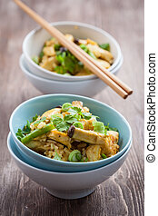 Rice with chicken meat and vegetable