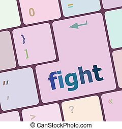 fight button on computer pc keyboard key vector illustration