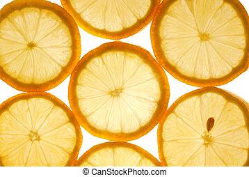 lemon slices texture - closeup of the lemon slices texture