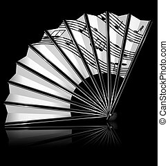 fan and notes - dark background and the white fan with notes