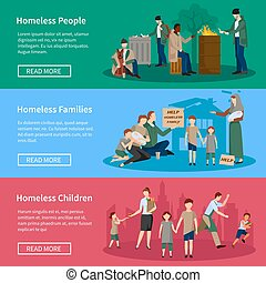 Homeless People Banner Set - Homeless Banner Set with people...