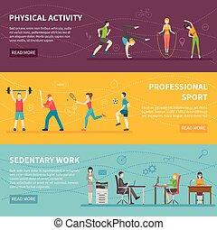 físico, actividad, banderas,